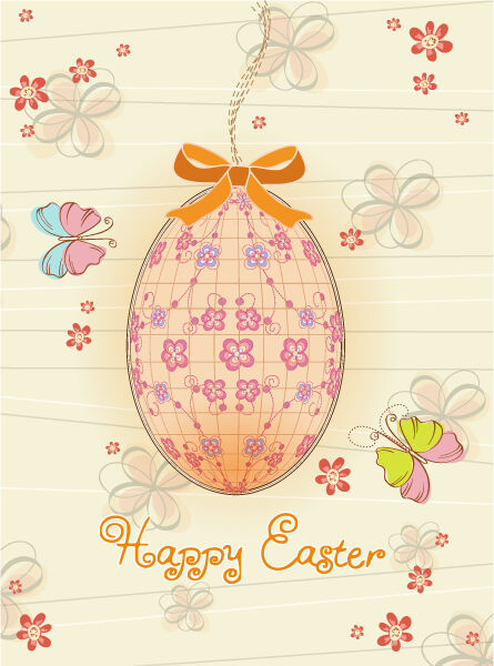 Egg With Butterflies Vector Illustration Vector Illustrations floral