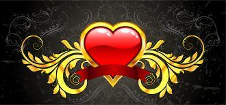Vector Valentine Gold Emblem Vector Illustrations old