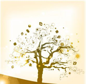 Vector abstract background with colorful tree Vector Illustrations tree