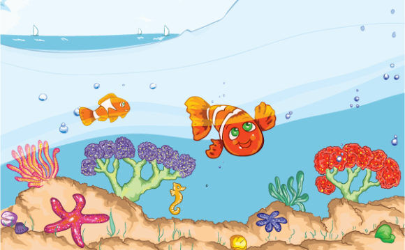 Kids Swimming Vector Illustration Vector Illustrations sea