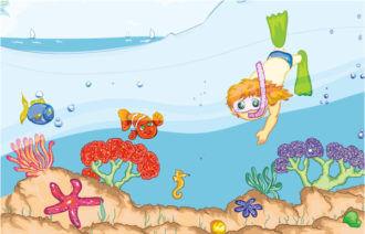 Kids Swimming Vector Illustration Vector Illustrations sea