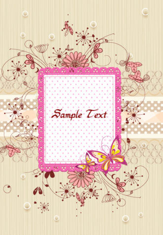 Vector Frame With Grunge And Floral Vector Illustrations floral