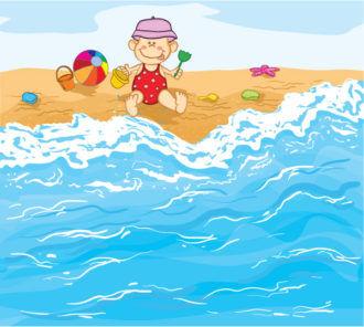 Little Baby Boy Playing On The Beach Vector Illustration Vector Illustrations ocean