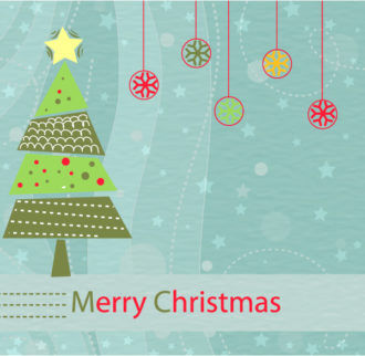 Vector Christmas Background With Tree Vector Illustrations star