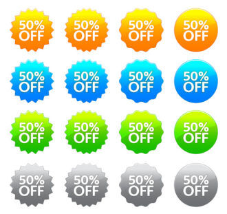 Vector Discount Labels Set Scenes vector