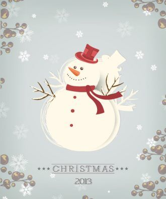 Christmas Vector Illustration With Snowman Vector Illustrations vector