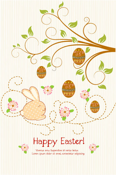 Vector Easter Background With Floral Vector Illustrations tree