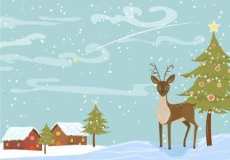 Vector Christmas Background With Reindeer Vector Illustrations tree