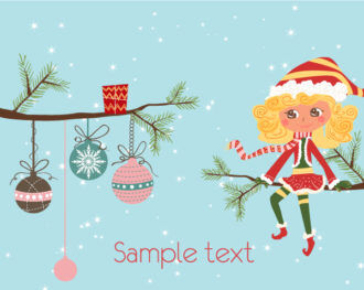Girl On A Branch Vector Christmas Background Vector Illustrations tree