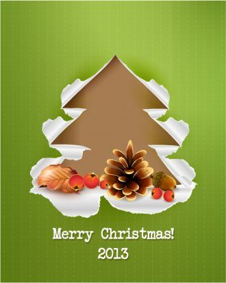 Christmas Vector Illustration With Acorn,Cranberries,Leaves,Pine Cone Vector Illustrations vector