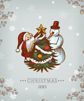 Christmas Vector Illustration With Christmas Tree, Snowman And Santa Vector Illustrations tree