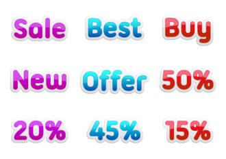 Vector Discount Stickers Set Scenes vector