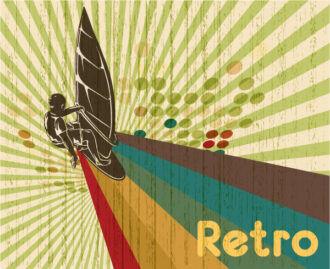 Vector Retro Summer Background Vector Illustrations wave