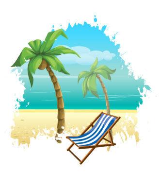 Vector Summer Background With Hammock Vector Illustrations hammock