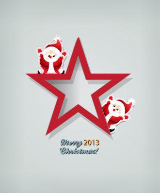 Christmas Vector Illustration With  Christmas Star And Santa Vector Illustrations star