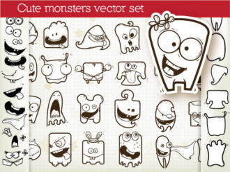 Set Of Vector Monsters Scenes ball