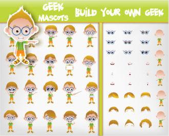Set Of Vector Geeks Scenes ball