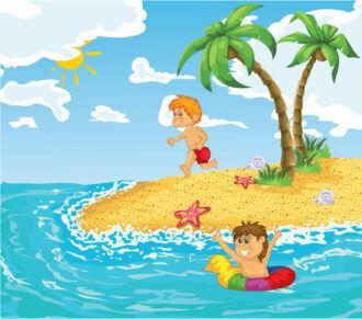 Cartoon Summer Background Vector Illustration Vector Illustrations palm
