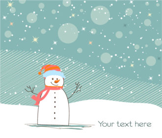 Vector Christmas Background With Snowman Vector Illustrations vector
