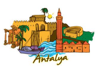 Antalya Doodles Vector Illustration Vector Illustrations palm