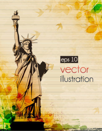 Statue Of Liberty With Grunge Vector Illustration Vector Illustrations old