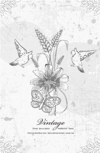 Grunge Floral Background With Birds Vector Illustration Vector Illustrations old