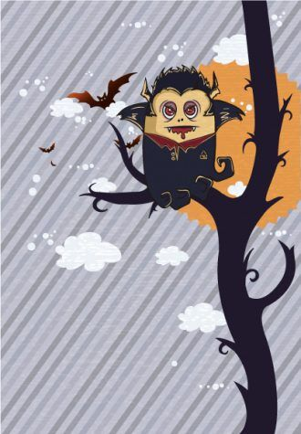 Vector Funny Background With Vampire Vector Illustrations tree