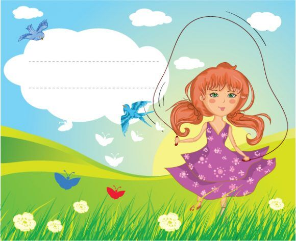Girl Playing Vector Illustration Vector Illustrations floral
