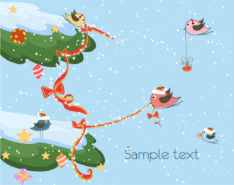 Vector Winter Background With Birds Vector Illustrations vector