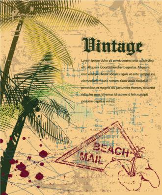 Vintage Summer Background Vector Illustration Vector Illustrations palm