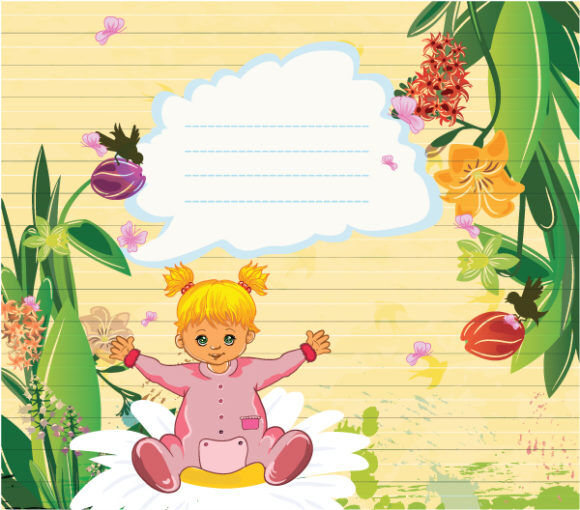 Little Girl With Floral Vector Illustration Vector Illustrations floral