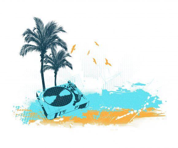 Vector Summer Music Illustration Vector Illustrations palm
