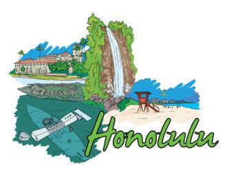 Honolulu Doodles Vector Illustration Vector Illustrations building