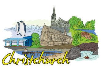 Christchurch Doodles Vector Illustration Vector Illustrations tree