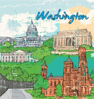 Washington Doodles Vector Illustration Vector Illustrations tree
