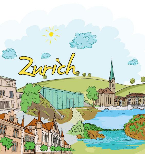 Zurich Doodles Vector Illustration Vector Illustrations tree