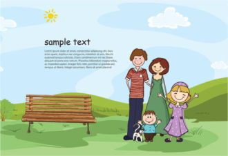 Cartoon Background With Family Vector Illustration Vector Illustrations tree