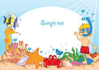 Cartoon Summer Background Vector Illustration Vector Illustrations summer