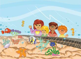 Kids At The Aquarium Vector Illustration Vector Illustrations star