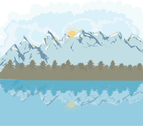 Mountain Landscape Vector Illustration Vector Illustrations tree