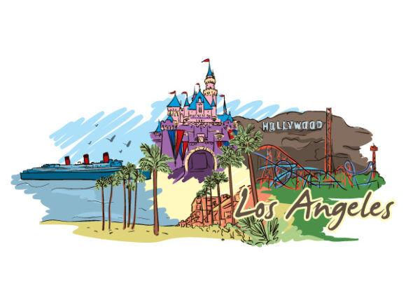 Los Angeles Doodles Vector Illustration Vector Illustrations palm