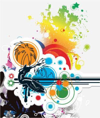 Colorful Summer Background Vector Illustration Vector Illustrations summer