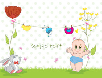 Baby With Rabbit Vector Illustration Vector Illustrations floral