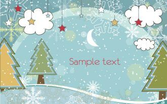 Vector Winter Background With Trees Vector Illustrations star