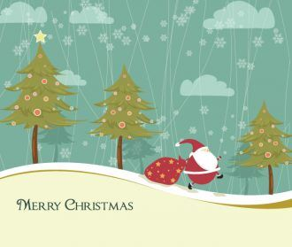 Vector Winter Background With Santa Vector Illustrations star