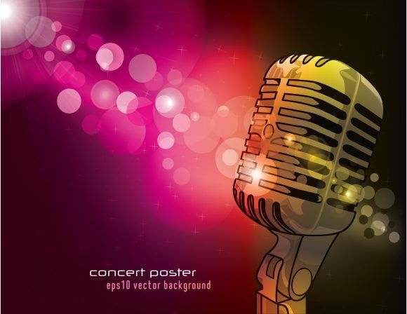 Vector Concert Poster With Microphone Vector Illustrations vector