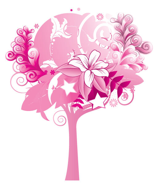Abstract Tree With Floral And Stars Vector Illustrations star