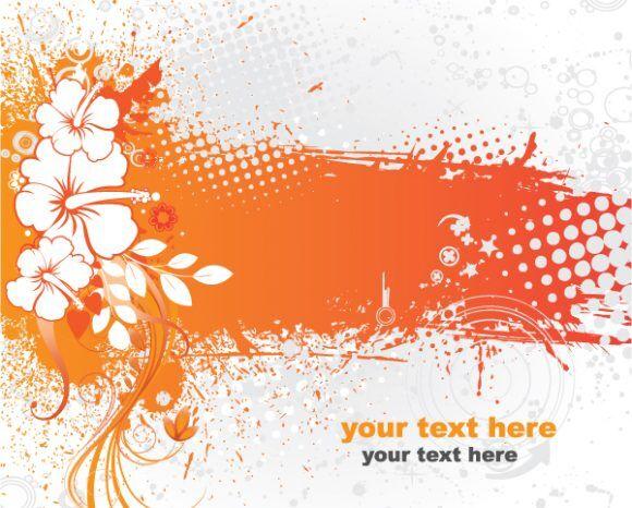 Summer Grunge Floral Background Vector Vector Illustrations summer