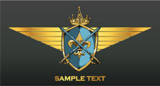 Vintage Crest With Gold Wings Vector Illustrations old
