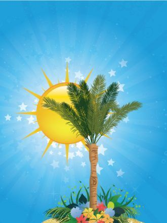 Summer Background With Palm Tree Vector Illustrations palm